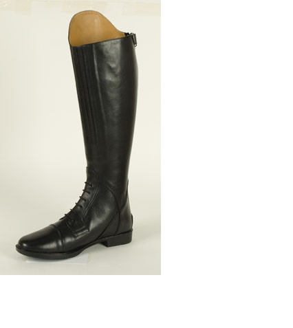 Leather Field Boot with Lace and Zipper